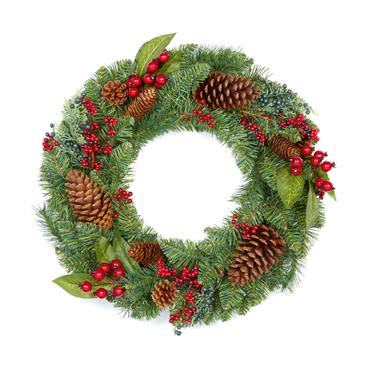 Natural Red Berry Wreath Pine Cones 45cm