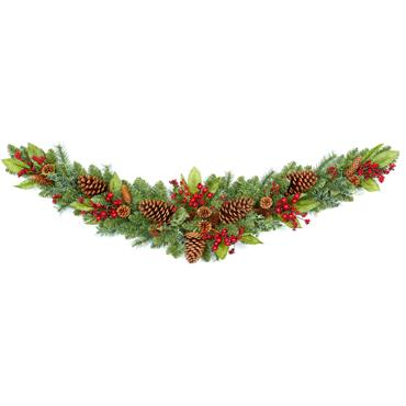 Red Berry Swag With Pine Cones 120cm
