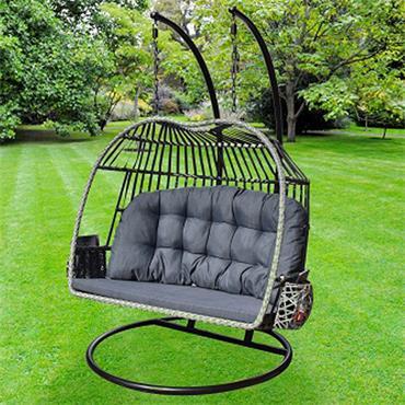 Rattan Twin Egg Chair Grey