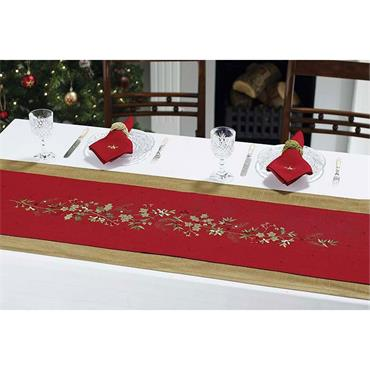 Embroidered Holly Berry TableRunner Red