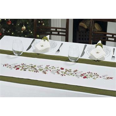 Embroidered Holly Berry TableRunner White