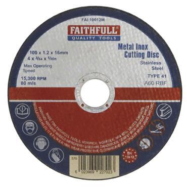 Faithfull Metal Cutting Disc 115 X 1.2 X 22mm