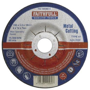 Faithfull Metal Cut Off Disc Depressed Centre 115 x 3.2 x 22mm