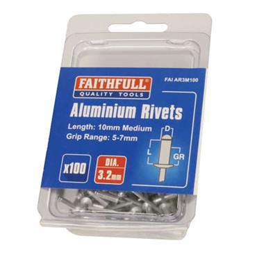 Faithfull Aluminium Rivets 3.2 x 10mm Medium 100pk