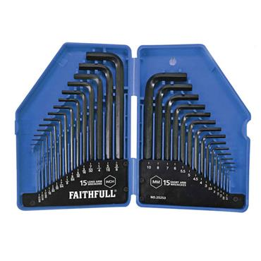 Faithfull Metric / Imperial Hex Key Set 30pce (0.7-10mm)
