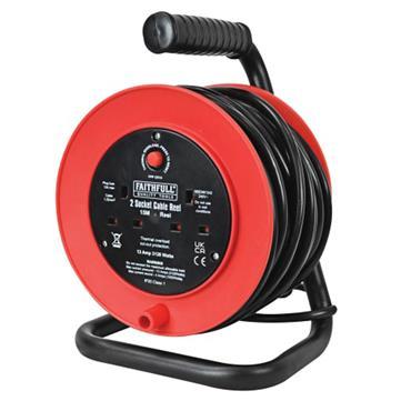 Faithfull Open Drum Cable Reel 240V 13A 2-Socket 15m