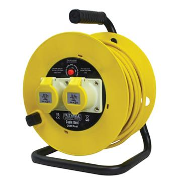 Faithfull Open Drum Cable Reel 110V 16A 2-Socket 25m (2.5mm Cable)