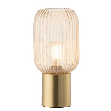 Galway Crystal Living Fluted Glass Table Lamp with Bulb Amber