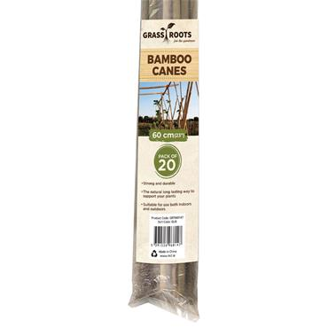 Grass Roots 60cm Pre-Packed Bamboo Canes Natural 20pk