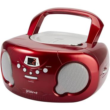 Groov-e Boombox CD Player & Radio Red