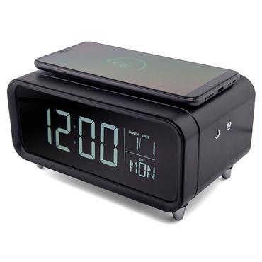 Groov-e Athena Wireless Charging Pad & Night Light Alarm Clock Black