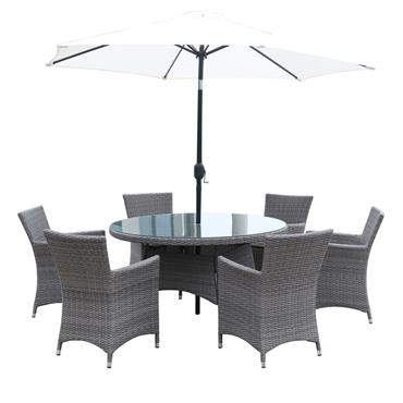 Hampton Rattan 6 Seater Round Set