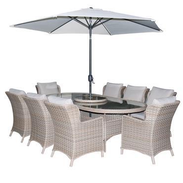 Hampton Rattan 8 Seater Oval Set