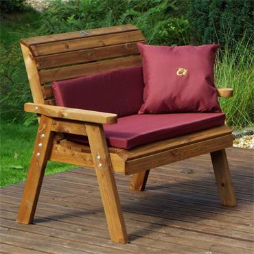 Winchester 2 Seater Bench (Burgundy Cushions)