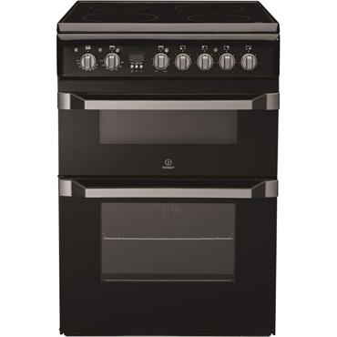 Indesit 60cm Electric Double Cooker Black