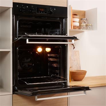 Indesit Built In Double Oven Black