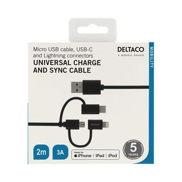 Deltaco Universal Charge & Sync Cable 2m