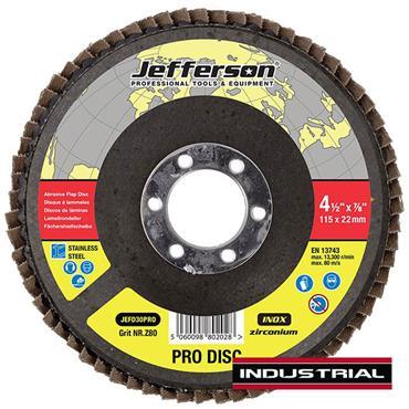 "Jefferson 4.5"" Abrasive Flap Disc P80 Zircon 22mm Bore"