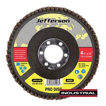 "Jefferson 4.5"" Abrasive Flap Disc P120 Zircon 22mm Bore"