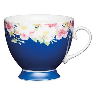 KitchenCraft Footed Mug Blue Border 400ml