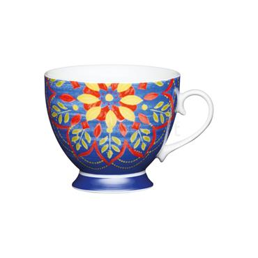 KitchenCraft Footed Mug Blue Moroccan 400ml