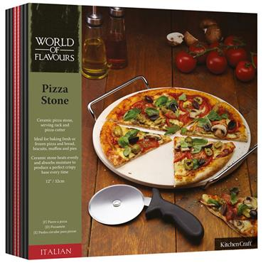 KitchenCraft World of Flavours Pizza Stone and Cutter 32cm