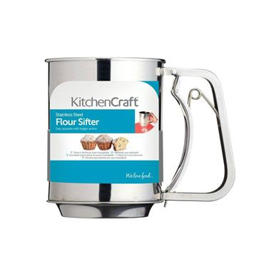 KitchenCraft Stainless Steel 3 Cup Trigger Action Flour Sifter