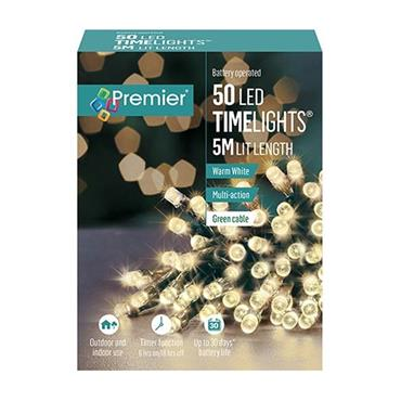 Warm White 50 Led Battery Timelights
