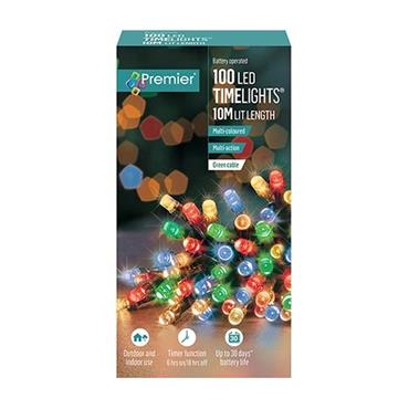 Multicoloured 100 LED Battery Operated Timelights