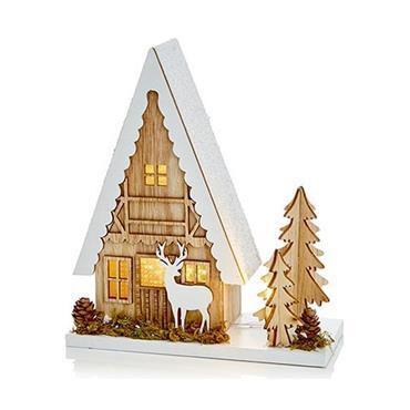 Premier 22cm Wooden Christmas House