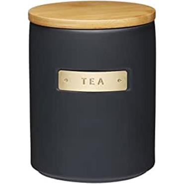 KitchenCraft MasterClass Tea Canister Ceramic Black