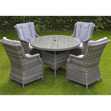 Amalfi Grey 4 Seater Glass Top Dining Set