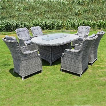Amalfi 6 Seater Oval Fire Pit Dining Set