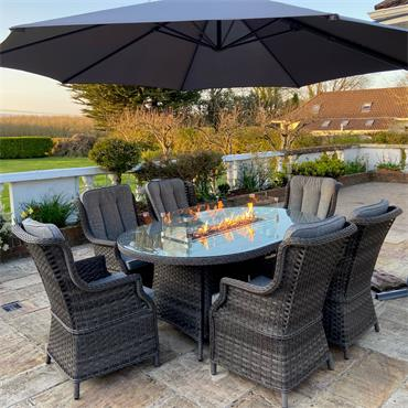 Amalfi 6 Seater Oval Fire Pit Dining Set
