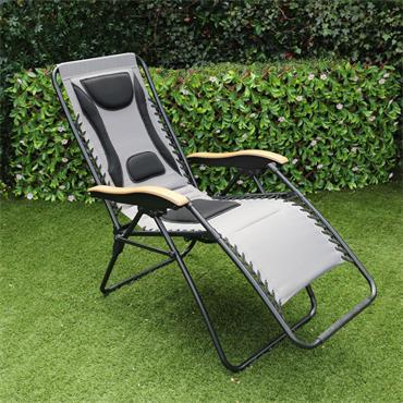 Luxury Grey Padded Zero Gravity Chair