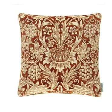 Morris & Co  Sunflower Velvet Cushion Saffron Vellum