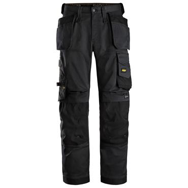Snickers 6251  Allroundwork Stretch Loose Fit Trousers Holster Pockets Black/Black