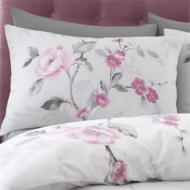 Catherine Lansfield Floral Trail Pink & Grey Duvet Set