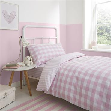 Bianca Check And Stripe Pink Duvet Cover