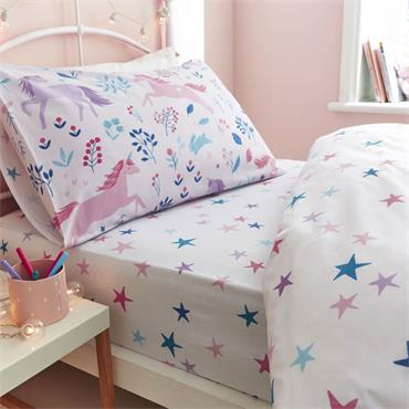 Bianca Woodland Unicorn And Stars Pink Fitted Sheet