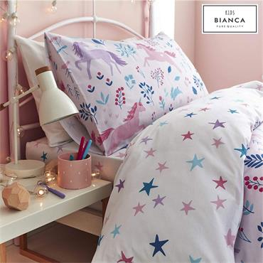 Bianca Woodland Unicorn And Stars Pink Duvet Cover