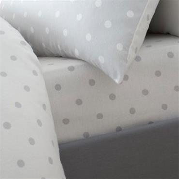 Catherine Lansfield Dotty Brushed Cotton Grey Fitted Sheet