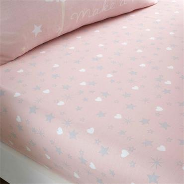 Catherine Lansfield Make A Wish Pink Fitted Sheet