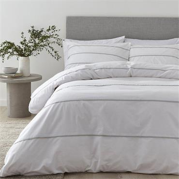 Content By Terence Conran Halstead Pleat White-Grey Duvet Set