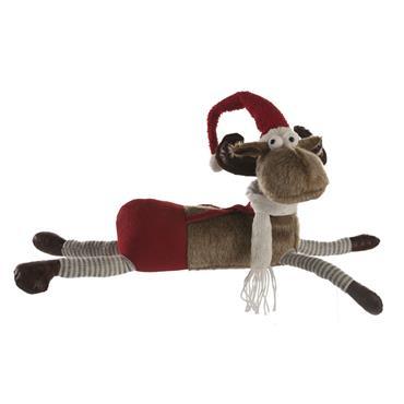 Festive 58cm Brown Plush Lying Reindeer