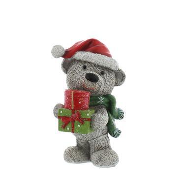 Festive 13cm Grey Standing Bear