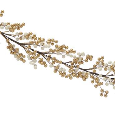 Festive 130cm Gold & White Cluster Berry Garland