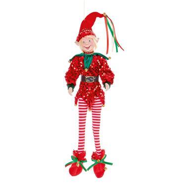 Red Sequin Posable Elf 50cm