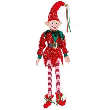 Red Sequin Posable Elf 75cm