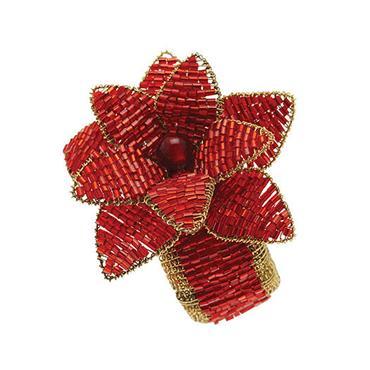 Poinsettia Napkin Ring Red (Set of 4)